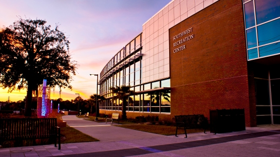 UF's SouthWest Recreation Center at Sunset